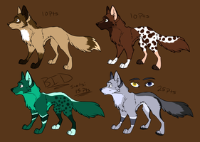 Wolf Adoptables (3 AND 4 OPEN) by JedaAdoptables