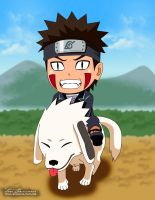 Kiba and Akamaru Chibi by titan-415
