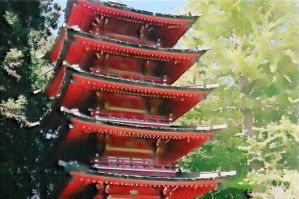 Trees Over Temple by DizzyCowPhotography