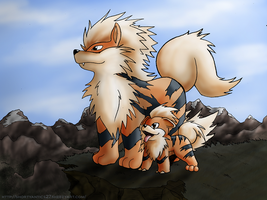 Arcanine and Growlithe by shorty-antics-27