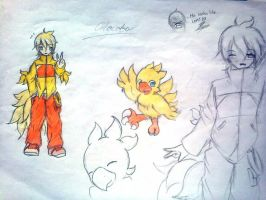 Chocobo and human form by UnitInfinity