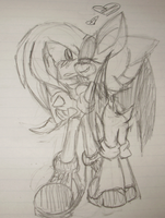 Knuckles and Rouge sketch by Nani-Ko