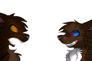 Hawkfrost and Brambleclaw(my drawing style) by Nightclaw5938