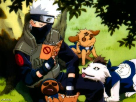Kakashi and his dogs. n_n by Freckles-Horrendous