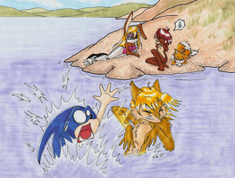 Sonic's Swimming Lessons by WingedHippocampus