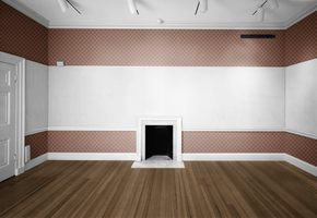 Empty Room - Orange Brown Pattern and White by Quryous