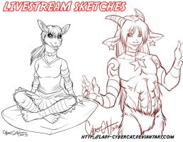 August Livestream Sketch Commissions 1 by lady-cybercat