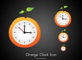 Orange Clock Icon by hamzahamo