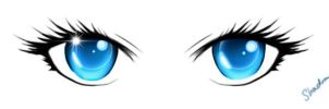 Blue Anime Eyes by ShadedAstral