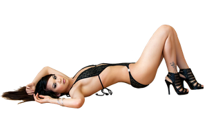 Aziatka lying on the parket PNG by magXlander