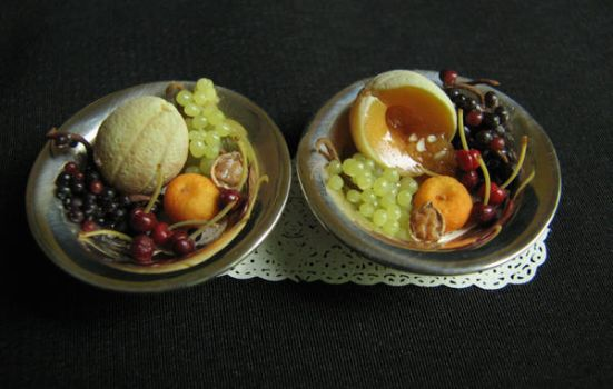 Fruit in sterling bowls by GoddessofChocolate