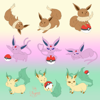 Comm - Eevees, Espeons, Leafeons by Horu-chan