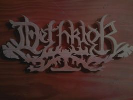 Dethklok Logo Wood Carving by Eleven1129