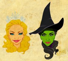 Glinda and Elphaba by leandrols