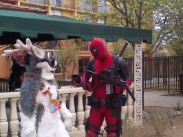 Deadpool and the Deer by Winged--Maned--Wolf