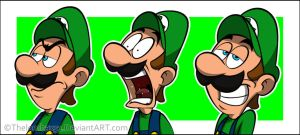 Random Cartoonly Luigi's Faces by RatchetMario
