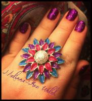 Flower ring with Gel glitter nails. by hugmemel