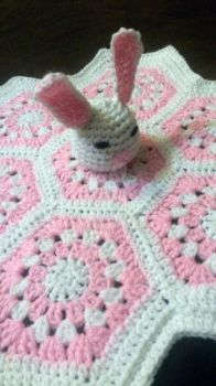 Pink Bunny Hexagon Security Blanket by RedVelvetsCrafts
