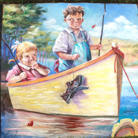 Young boy and girl on boat by charfade