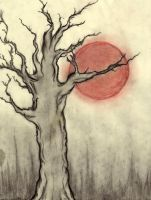 The crooked tree and the moon by countess-shalott