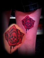 Skull rose red blood tattoo by CalebSlabzzzGraham