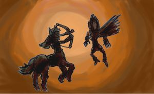 Centaurgirl and Horsefly in a Fight by SonicClone