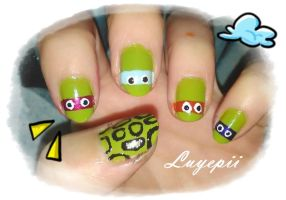 Nails art TMNT by Luyepii
