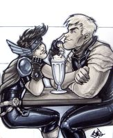 Wiccan and Hulkling sharing a milkshake by ComfortLove