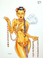 Slave Leia in Copics by RichardHuante