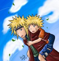 Yondaime and Naruto by yun-yun