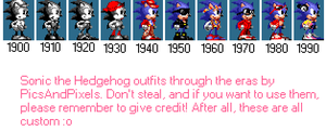 Sonic the Hedghehog Outfits through the Eras by PicsAndPixels