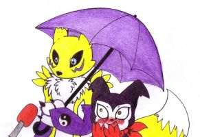 Renamon and Impmon's special feeling by kacsasegg