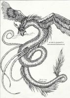 Dotted dragon !stippling! by ArinantWolf