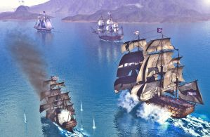 The British fleet attacks the pirates by DRAKENLORD7