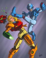 Samus Aran v. Mega Man by BenjaminGalley