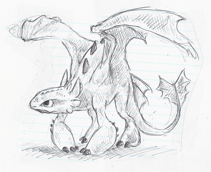 Toothless doodle by little-ampharos