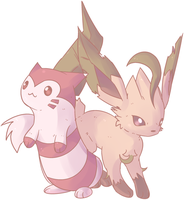 Shiny Furret and Leafeon Commission by AutobotTesla