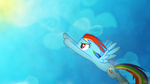 Dashie flying to the sky Wallpaper by Izeer
