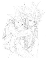 Commission for Black-Wren: Yugi and Atem 2 Sketch by Yamigirl21