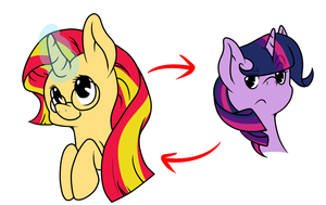 Swap: Sunset Shimmer, Twilight Sparkle by thepiplup