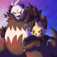 Pancham and Pangoro by MasaBear