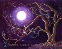 Calico Cat in Haunted Tree by zenbreeze