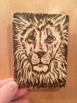 Burned lion ACEO trade~ by AstaraBriarart
