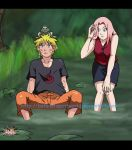 Naruto and Sakura Frog Hunting by BotanofSpiritWorld