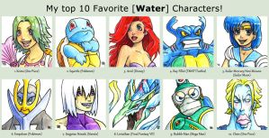 Top 10 Water Characters by fedde