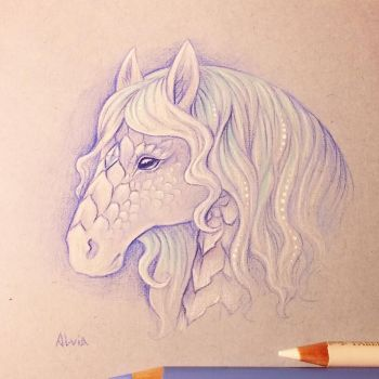 White kirin sketch by AlviaAlcedo