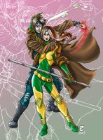 Rogue and Gambit by Marvelfans