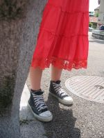 Red skirt and Converse by Orange-Mecanique