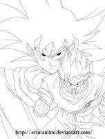 Turles and Goku - Lineart by Ezio-anime