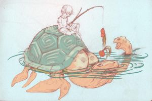 turtle fishing by dragonalth